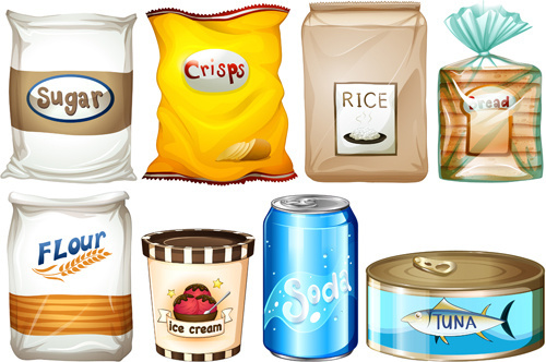 food packing elements vector graphics
