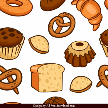 food pattern bread cake sandwich sketch classical handdrawn