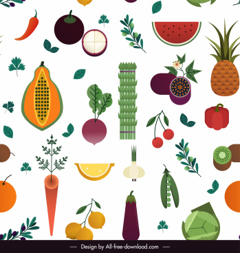 food pattern colorful flat fruits ingredients sketch