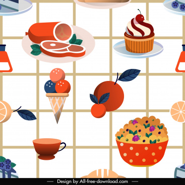 food pattern template colorful classic decor