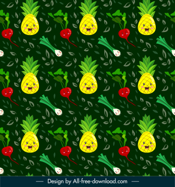 food pattern template cute stylized repeating sketch