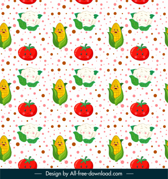 food pattern template repeating stylized corn tomato sketch