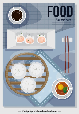 food poster asian dimsum sketch colorful flat design