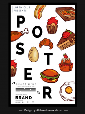 food poster colorful messy layout