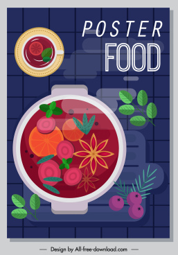 food poster soup pot sketch colorful flat classic