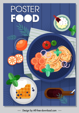 food poster template colorful classic flat ingredients sketch