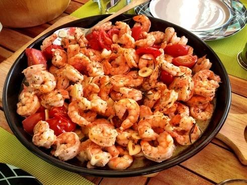 food prawns cooking