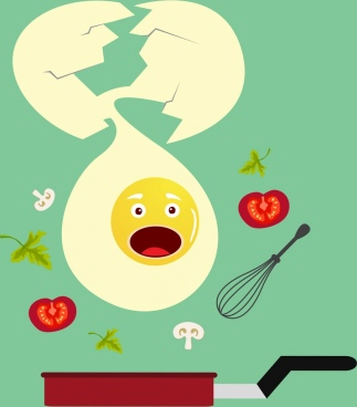food preparation background stylized broken egg icon