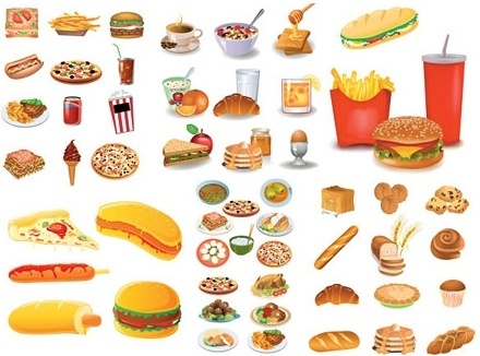 fast food icon collection various colored types