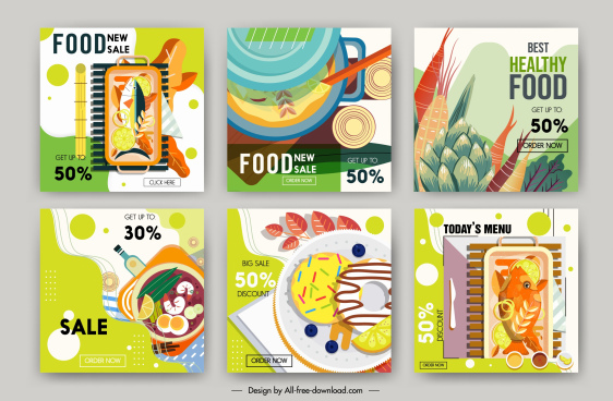food sale banners templates colorful flat classic design