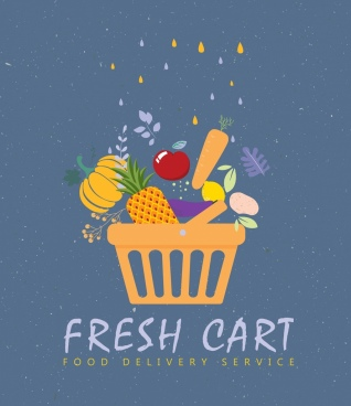 food service banner vegetable cart icons flat design