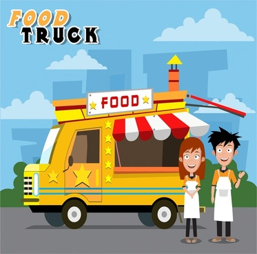 food truck and sellers design with colorful illustration