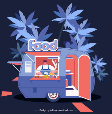 food truck background dark colorful classic decor