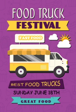 food truck festival banner car icon violet decor