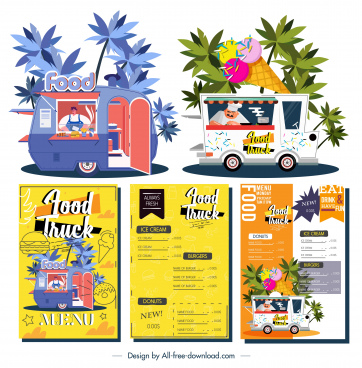 food truck menu templates colorful decor vendor sketch