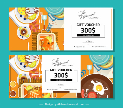 food voucher template colorful flat sketch