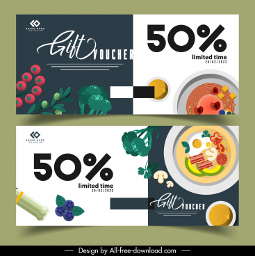 food voucher templates ingredients cuisines sketch colorful classic
