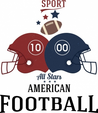 football advertisement helmet ball icons decoration