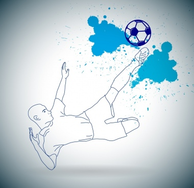 football background grunge sketch kicking player decoration
