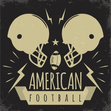football banner helmets oval ball icons retro design