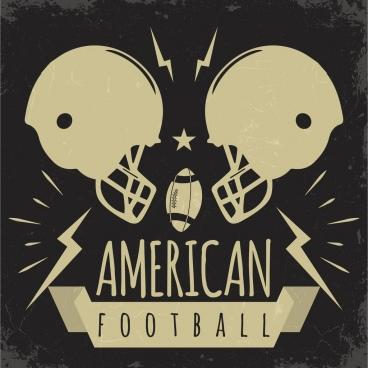 football banner helmets oval ball icons retro design