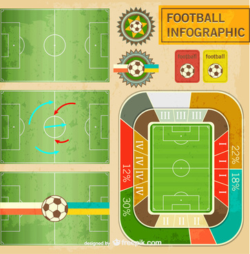 football field infographics vector graphics