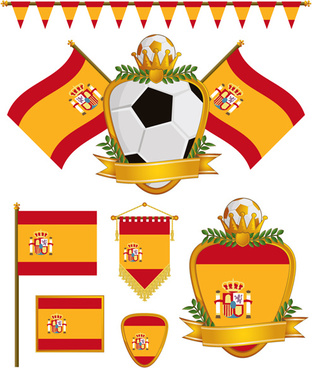 football flag elements vector set