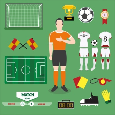 football icons illustration with various colored symbols