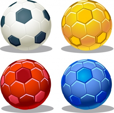 football icons sets various colored isolation