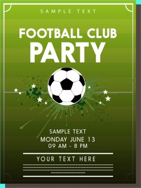 football party poster ball icons green ground backdrop