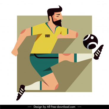 football player icon flat dynamic sketch classic design