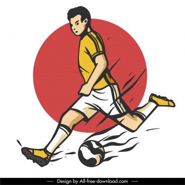 football player icon kicking gesture dynamic classic design