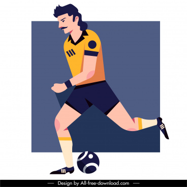 football player icon motion sketch flat cartoon character