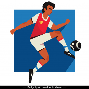 football player icon motion sketch flat design
