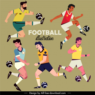 football players icons dynamic cartoon sketch