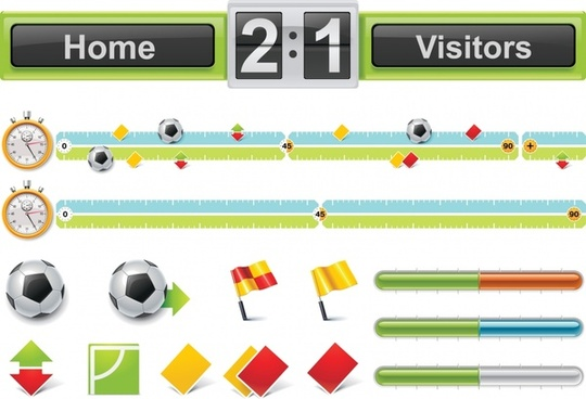 soccer match design elements colorful symbols sketch