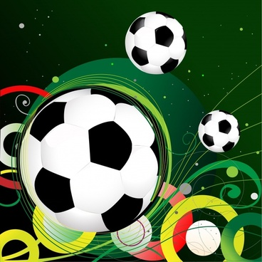 soccer banner template balls colorful curves dynamic design