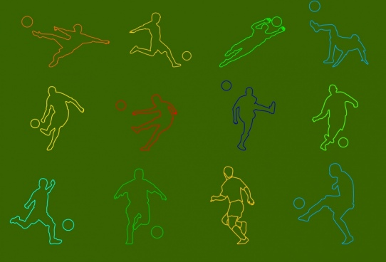 footballer icons sets colored silhouette images various gestures
