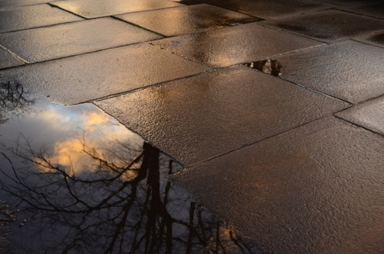 footpath and puddle