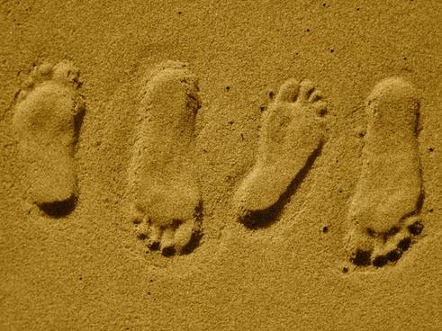 footprints steps sand