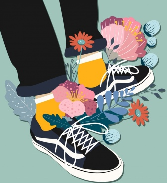 footwear advertising shoes legs flowers icons decor