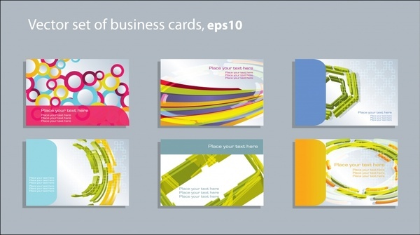 business card cover templates modern colorful abstract decor