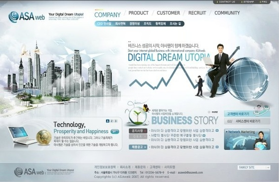 foreign corporate website classic template psd layered