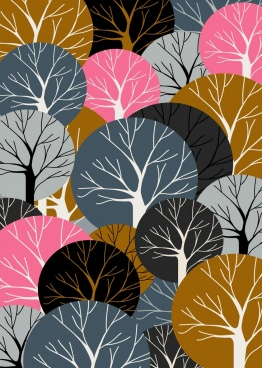 forest background luxuriant tree icons geometric decor
