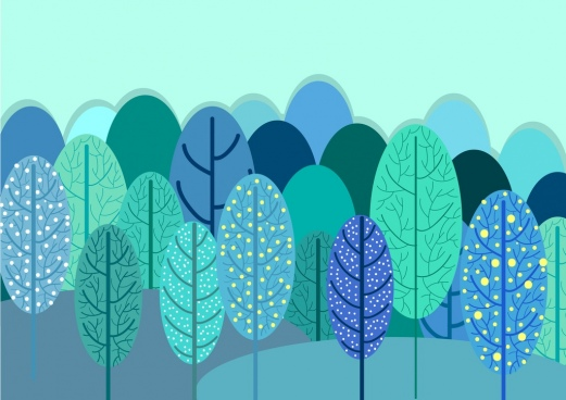 forest background multicolored hand drawn style tree icons