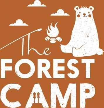 forest camp banner bear campfire texts decoration