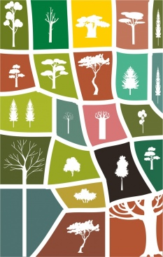 forest design elements various white silhouette shapes isolation