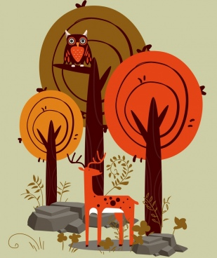 forest drawing reindeer owl tree icons classical design
