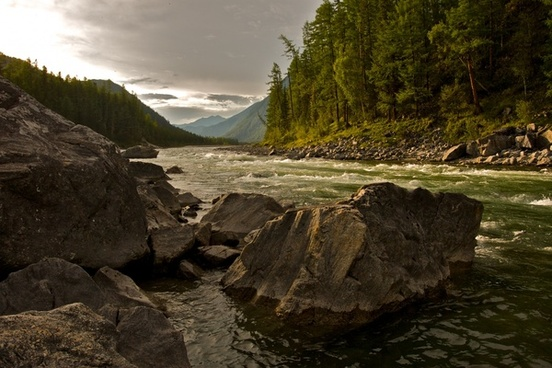 forest hill landscape mountain ripple river rock
