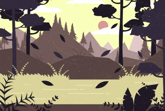 forest landscape drawing colored classical design